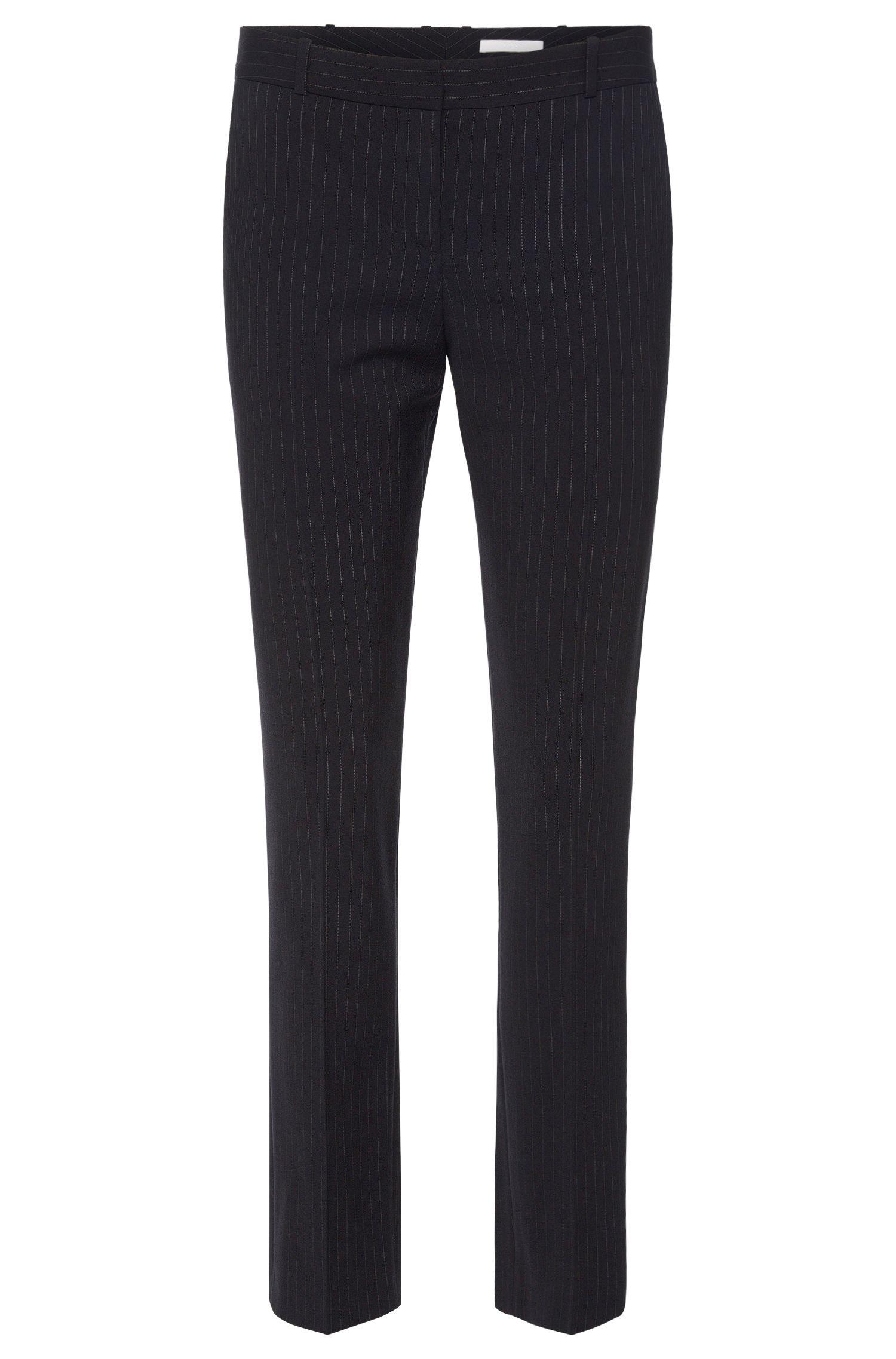 Pantaloni regular fit a righe sottili in misto viscosa elasticizzato e lana vergine: 'Tiluna7'