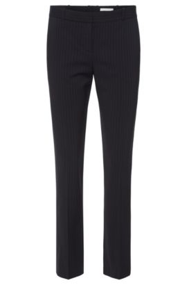 Finely striped regular-fit trousers in a stretchy viscose blend with new wool: 'Tiluna7', Patterned