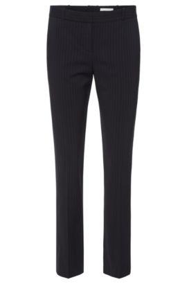Pantaloni regular fit a righe sottili in misto viscosa elasticizzato e lana vergine: 'Tiluna7', A disegni