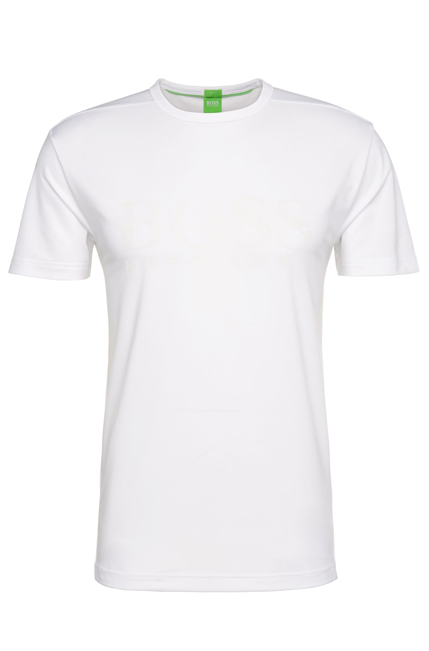 Slim-fit T-shirt van een elastische materiaalmix: 'Tianotech'