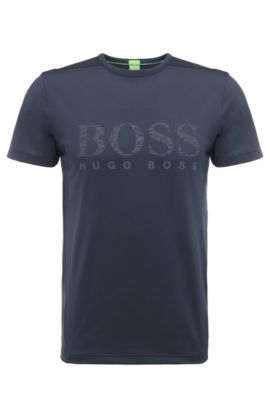 T-shirt Slim Fit en matières extensibles mélangées: «Tianotech», Bleu foncé