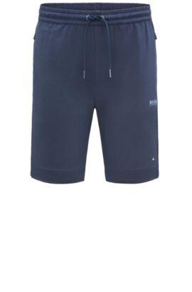 Regular-fit short van een elastische materiaalmix: 'Hortech', Donkerblauw