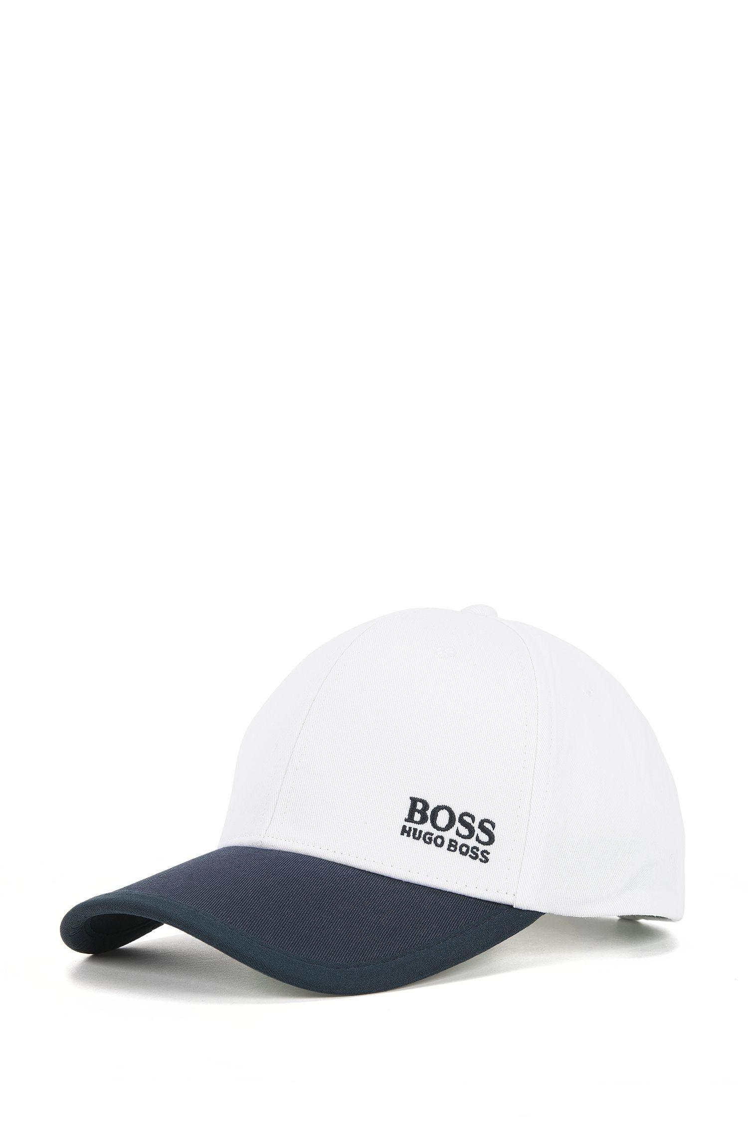 Colour-block baseball cap in cotton twill