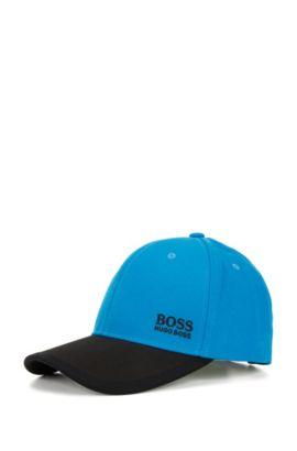 Casquette de base-ball color block en sergé de coton, Bleu