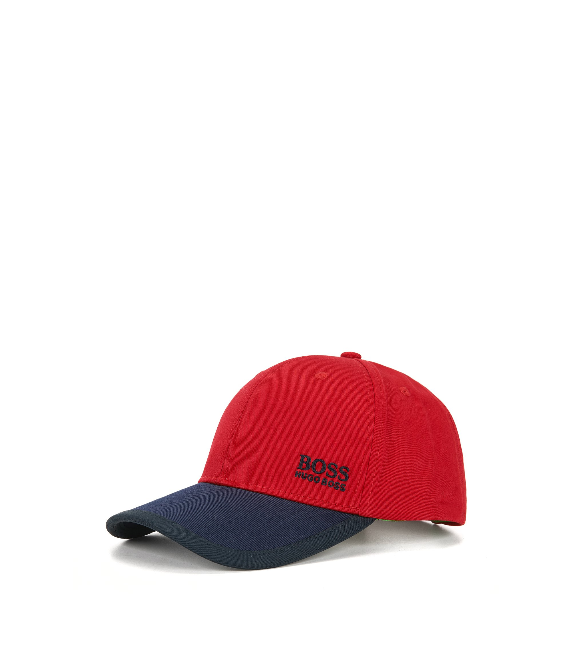 Colour-block baseball cap in cotton twill, Red