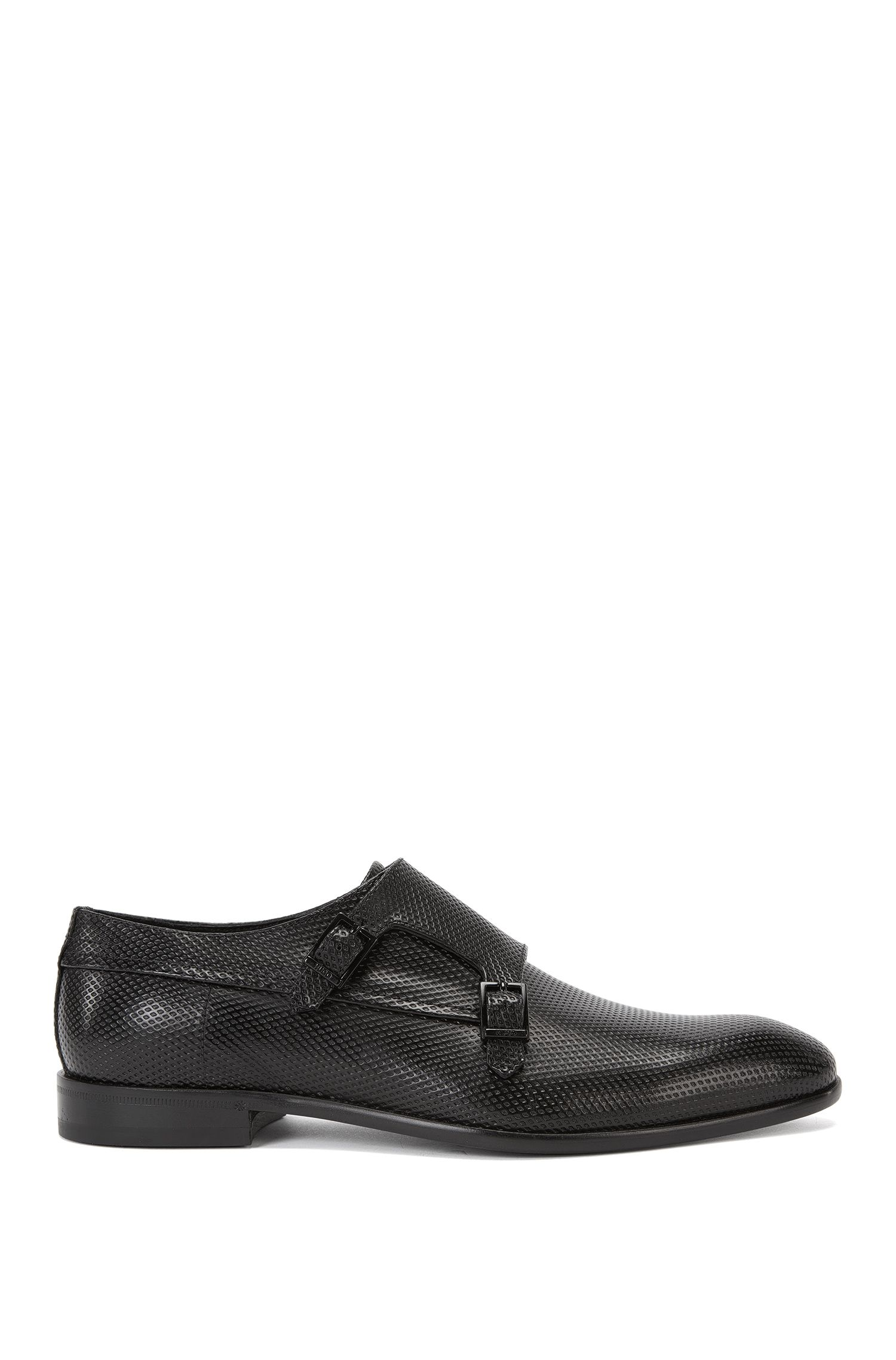 Double monk shoes in embossed leather: 'Dressapp_Monk_pr'