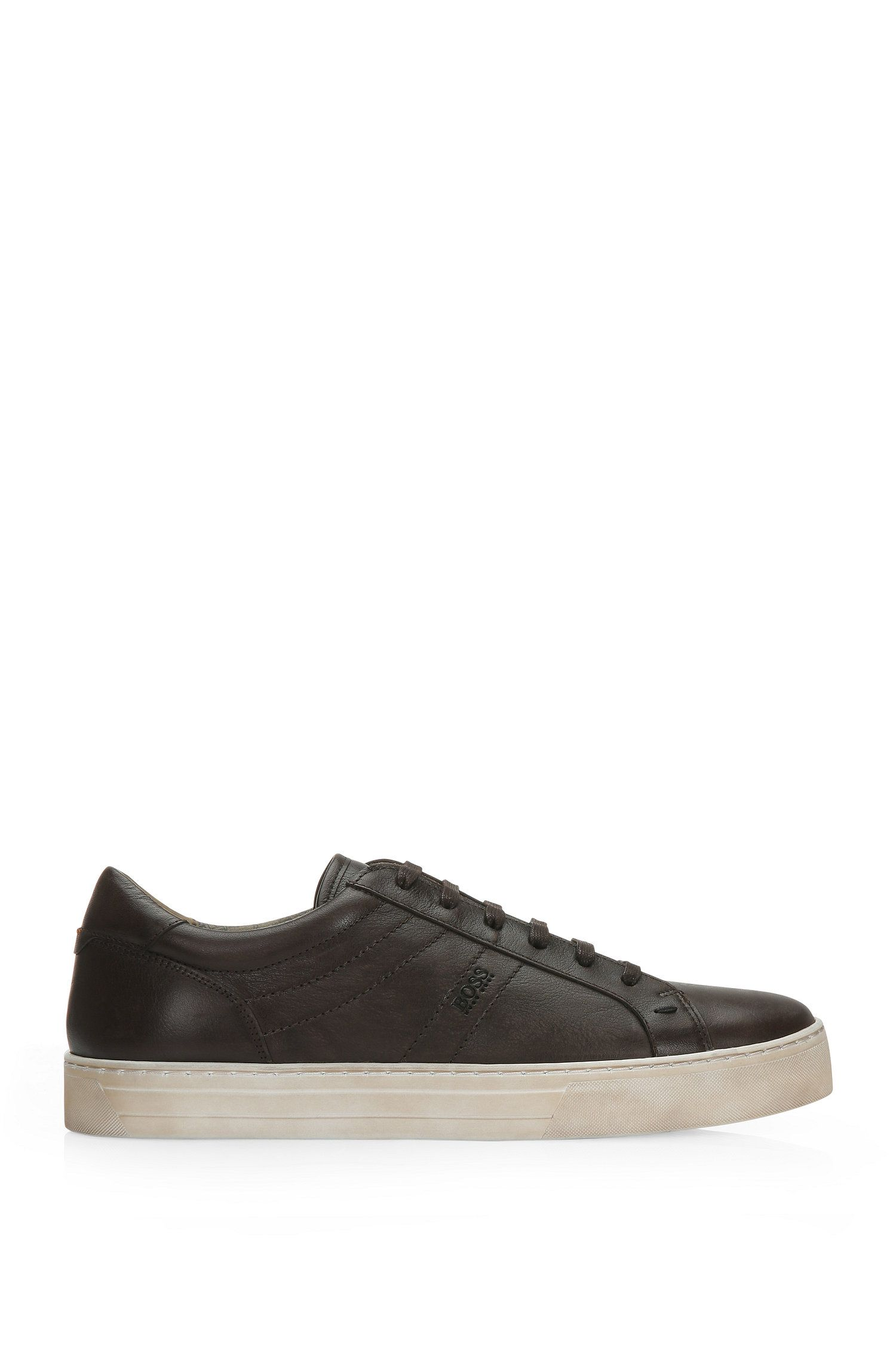 Trainers in leather with vintage finish: 'Noir_Tenn_ltws'