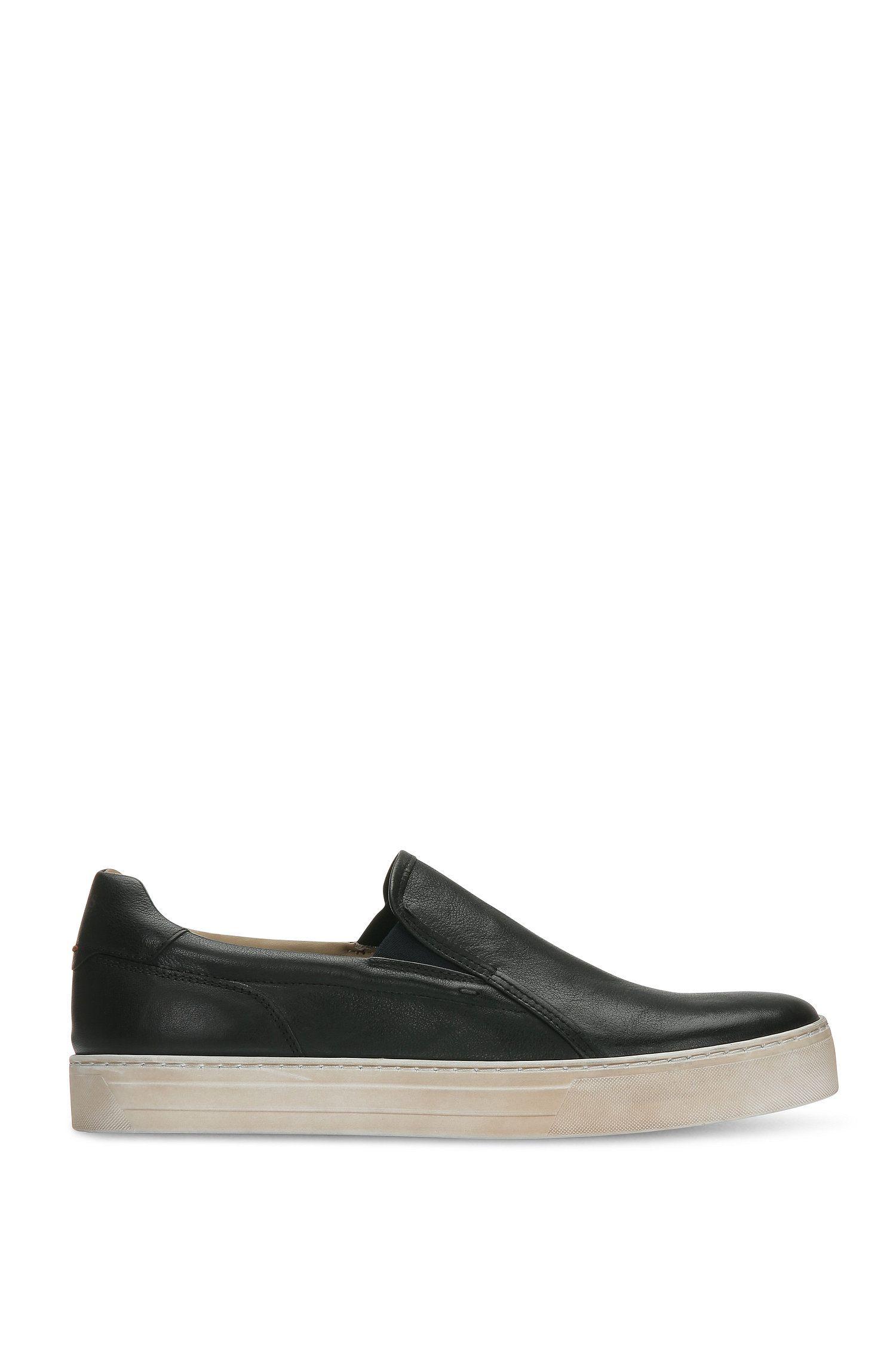 Lederne Slip-on Sneakers mit Vintage-Effekt: ´Noir_Slon_ltws`