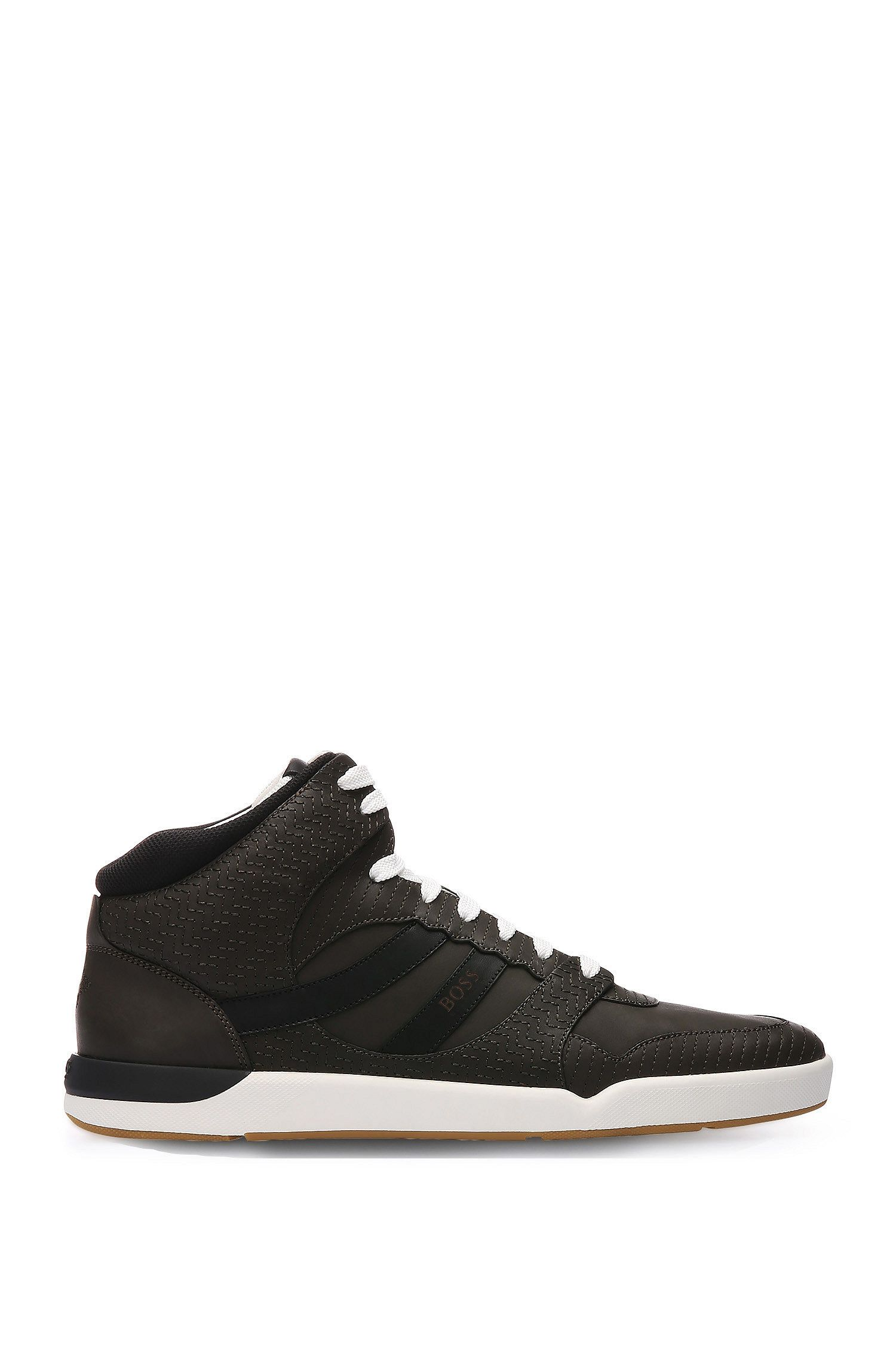 High-top trainers in embroidered leather with textile trim: 'Stillnes_Hito_embr'