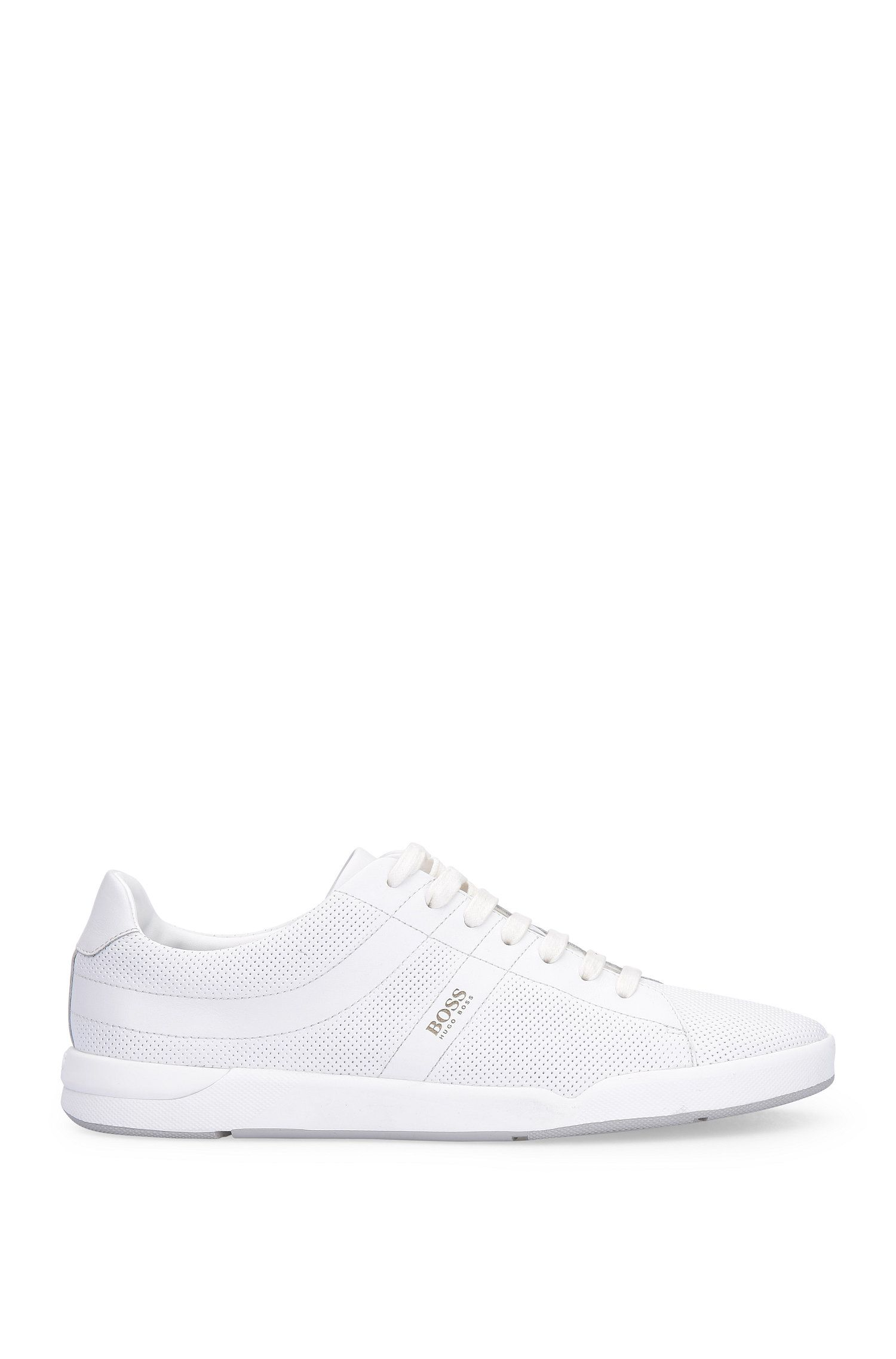 Leather trainers with perforated pattern: 'Stillnes_Tenn_ltpf'