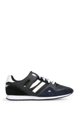 Sneakers van een materiaalmix met leer en textiel: 'Adrenal_Runn_mx', Donkerblauw
