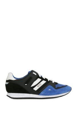 Sneakers in materiali misti con pelle e tessuto: 'Adrenal_Runn_mx', Blue Scuro