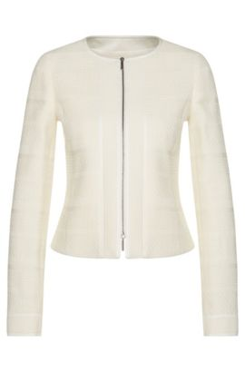 Blazer in a stretchy cotton blend with a 2-way zip: 'Koralie10', Natural