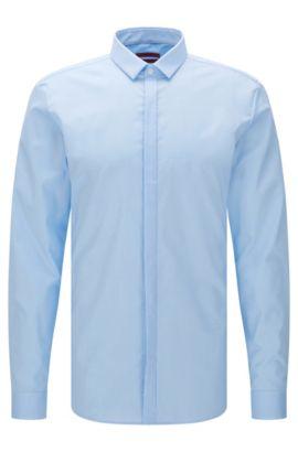 Camicia extra slim fit in cotone facile da stirare con allacciatura a bottoni nascosta: 'Ebros', Celeste
