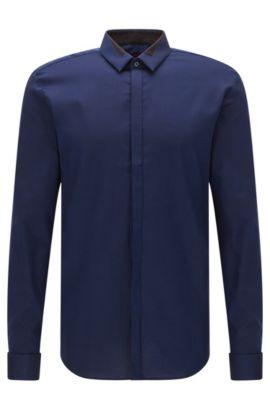 Extra Slim-Fit Hemd aus bügelleichter Baumwolle: 'Etris', Blau