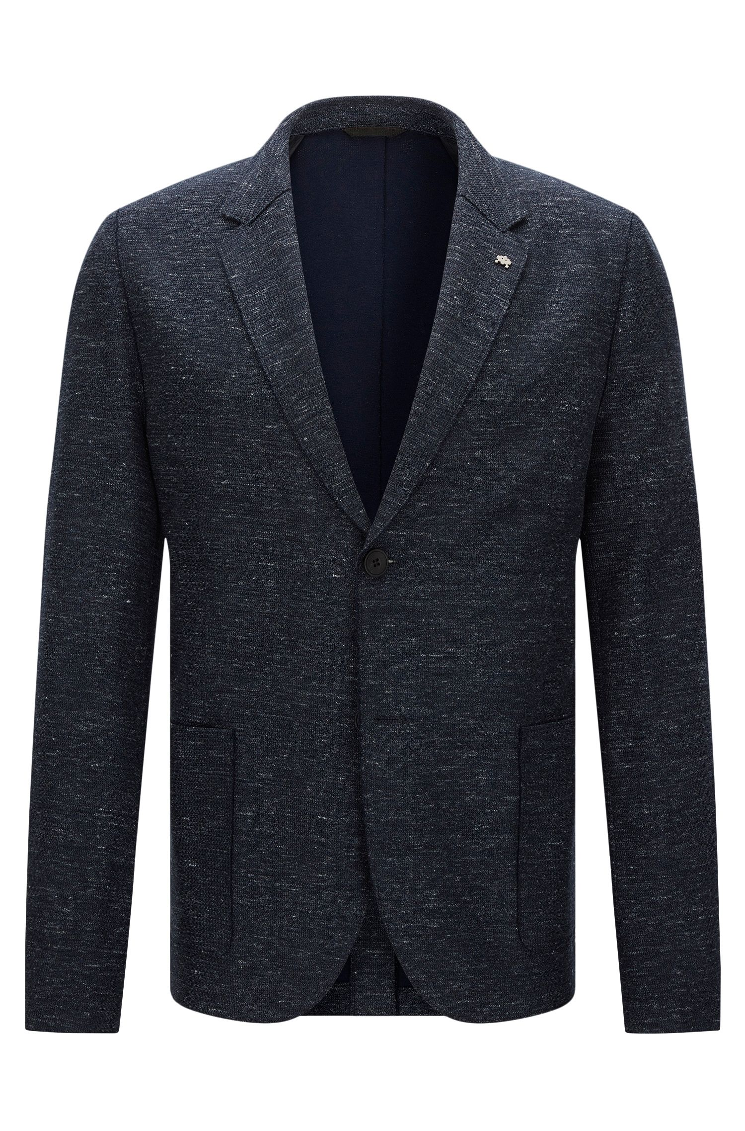 Mottled slim-fit jacket in stretchy cotton blend with linen: 'Agalto'