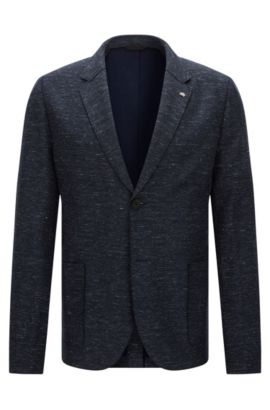 Mottled slim-fit jacket in stretchy cotton blend with linen: 'Agalto', Dark Blue