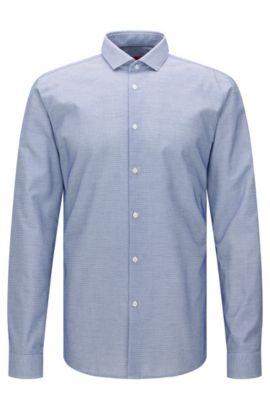 Patterned extra-slim fit shirt in cotton: 'Erondo', Blue
