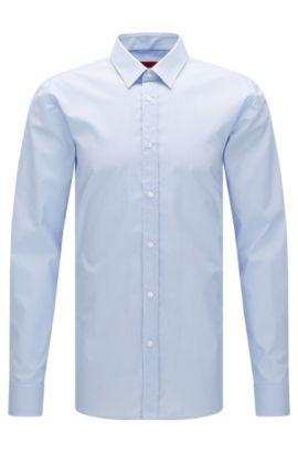 Fein kariertes Extra Slim-Fit Hemd aus bügelleichter Baumwolle: 'Elisha01', Hellblau