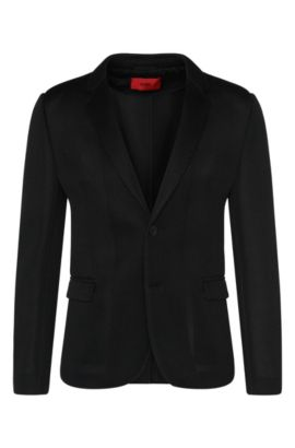 Slim-fit jacket in material blend with perforated details: 'Arwido3', Black