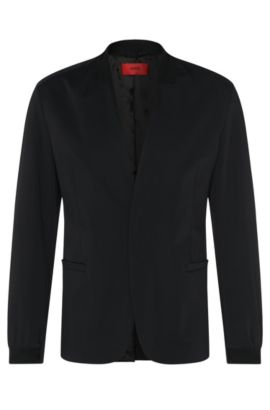 Regular-fit jacket with a band collar and elastic cuffs: 'Apekto', Black