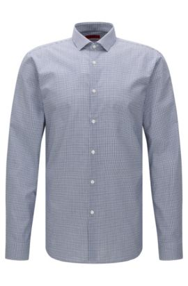 Finely checked extra slim-fit shirt in cotton: 'Erondo', Blue