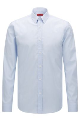 Striped extra slim-fit shirt in easy-iron cotton: 'Elisha01', Light Blue