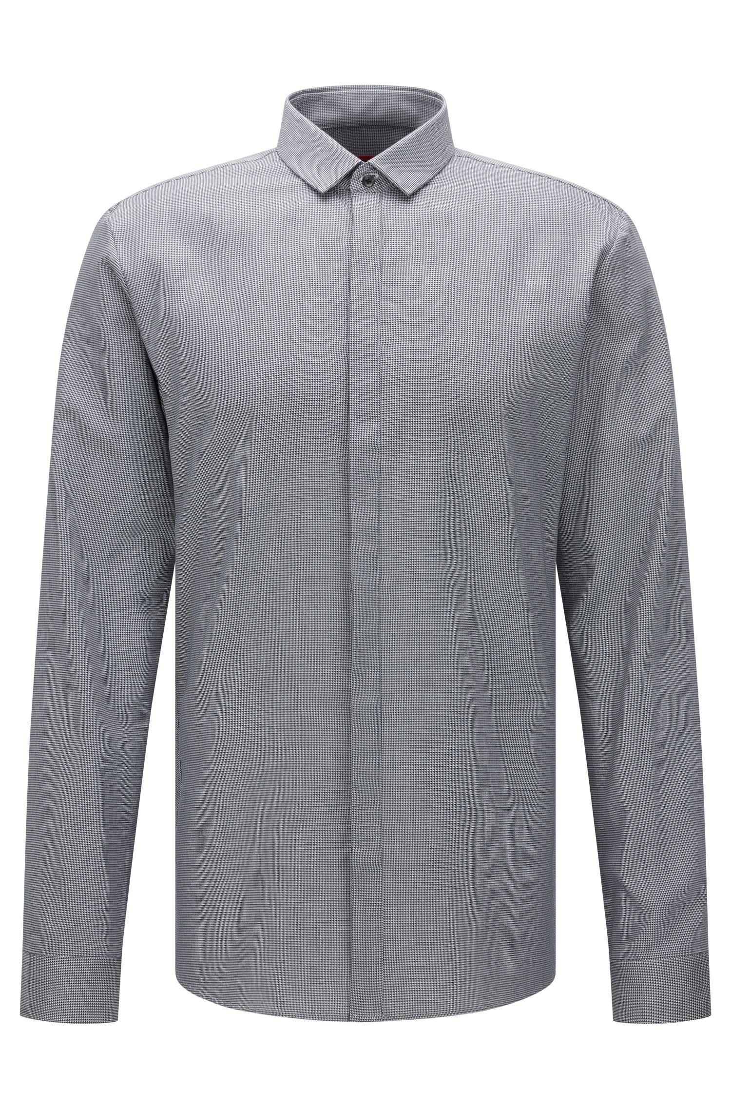 Fein gemustertes Extra Slim-Fit Hemd aus Baumwolle: 'Ebros'