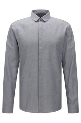 Camisa extra slim fit confeccionada en algodón con un fino estampado: 'Ebros', Negro