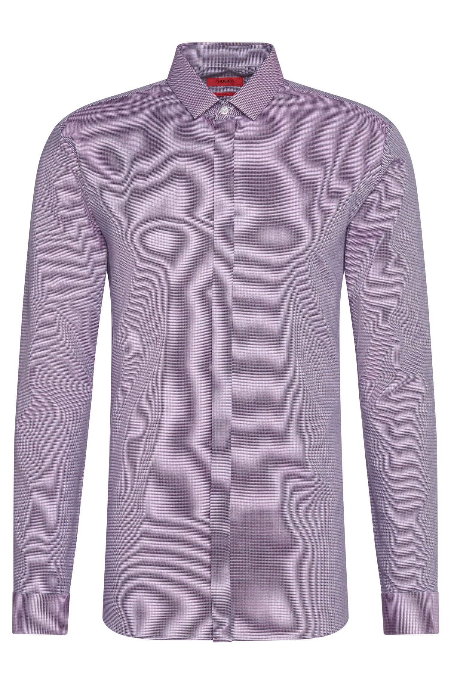 Chemise Extra Slim Fit à motif fin en coton: «Ebros»
