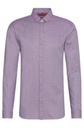 Camisa extra slim fit confeccionada en algodón con un fino estampado: 'Ebros', Lila