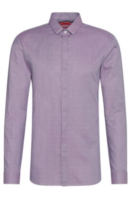 Finely patterned extra-slim fit shirt in cotton: 'Ebros', Purple