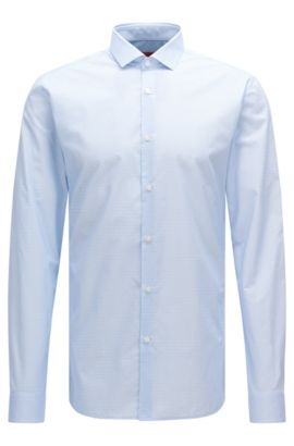 Patterned extra-slim fit shirt in cotton: 'Erondo', Light Blue