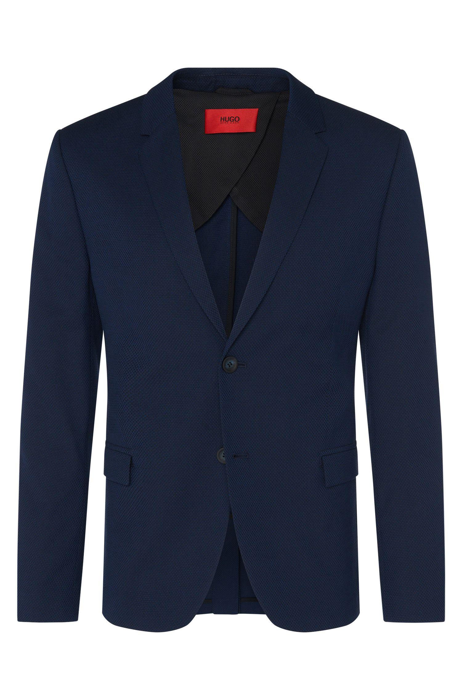 Veste de costume Regular Fit en coton mélangé extensible à teneur en laine vierge: «Areltos»