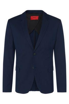 Americana regular fit en mezcla elástica de algodón con lana virgen: 'Areltos', Azul