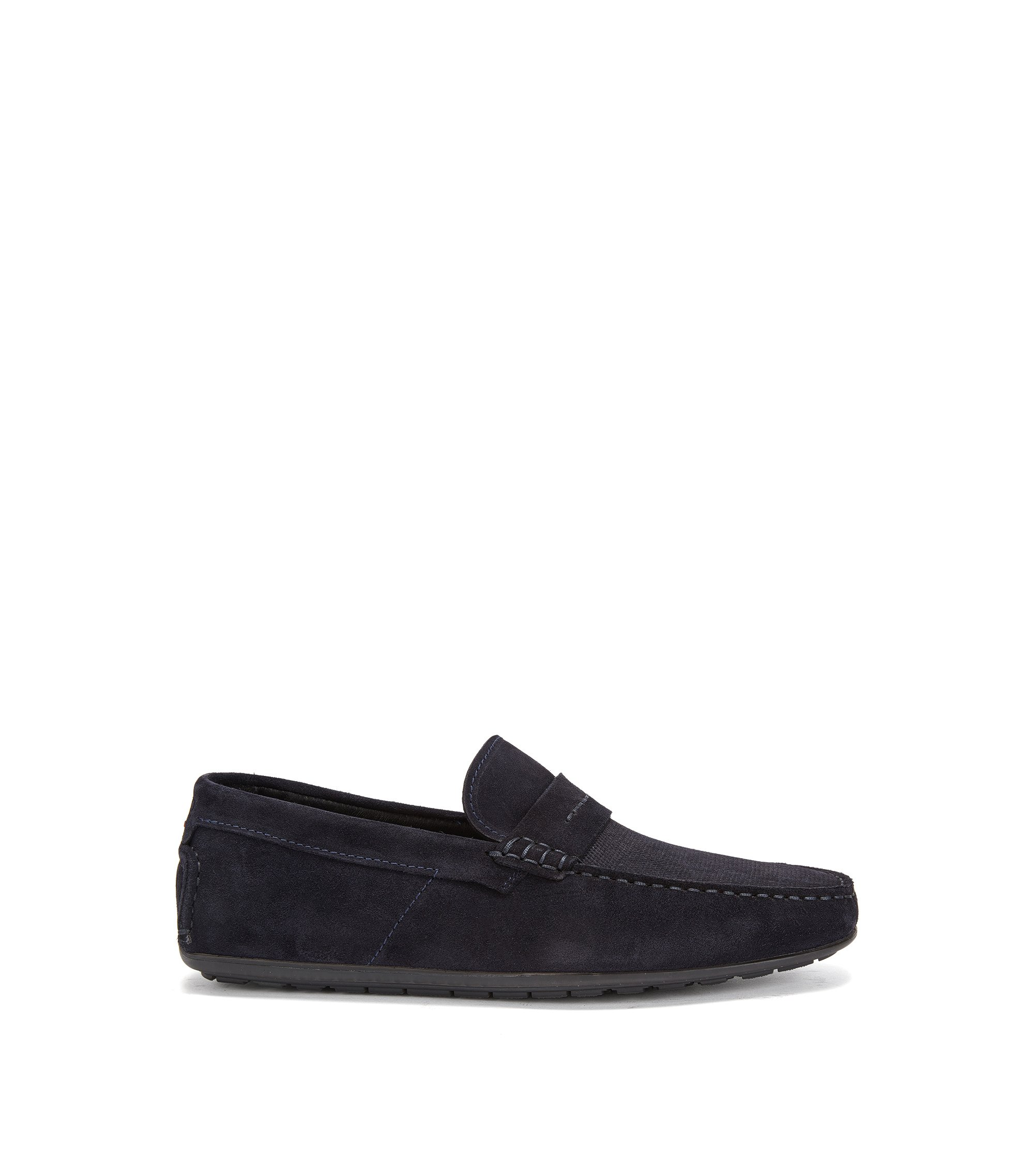 Mocassini slip-on in pelle scamosciata italiana, Blu scuro