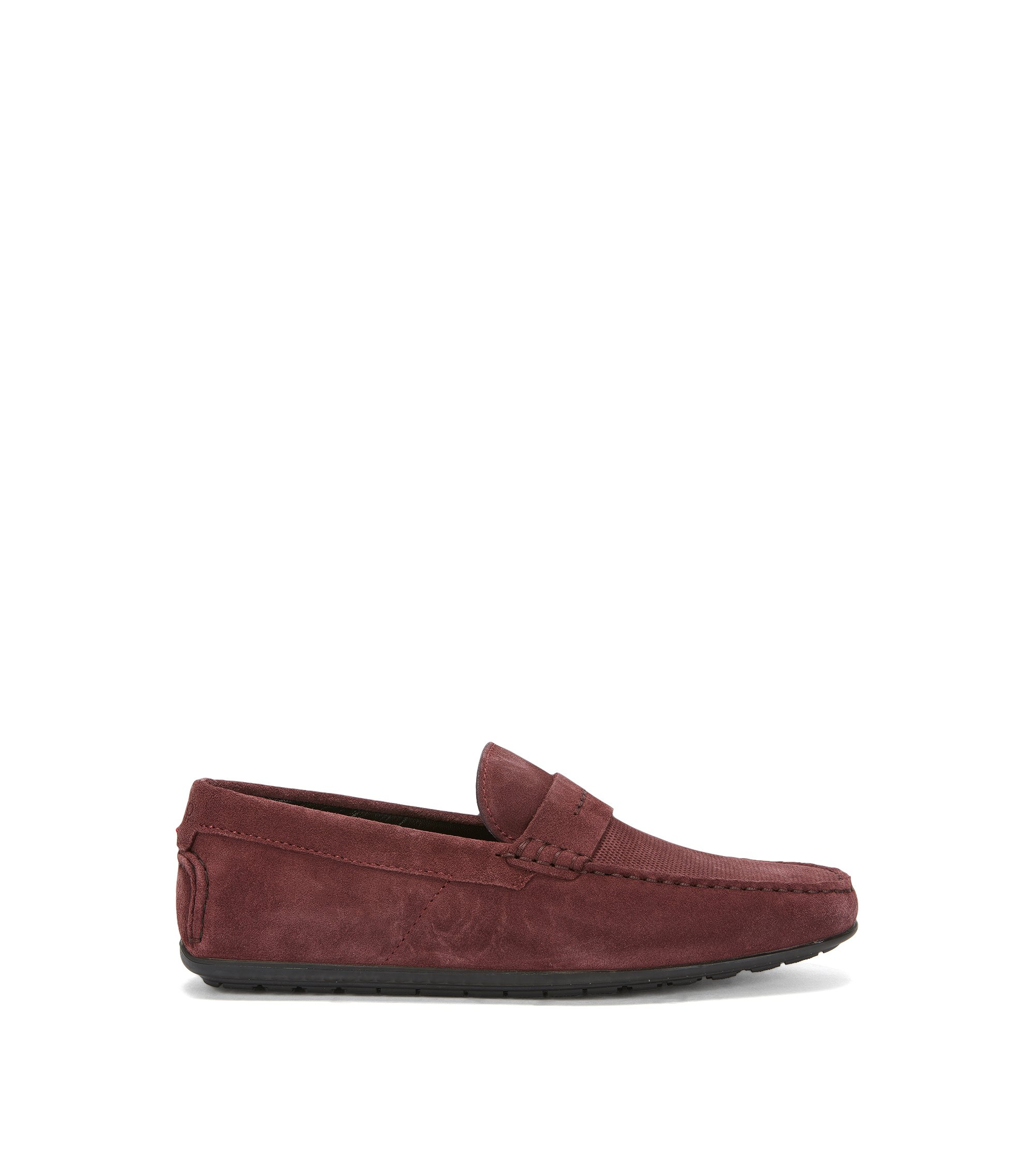 Slip-on mocassins van Italiaanse suède, Donkerrood