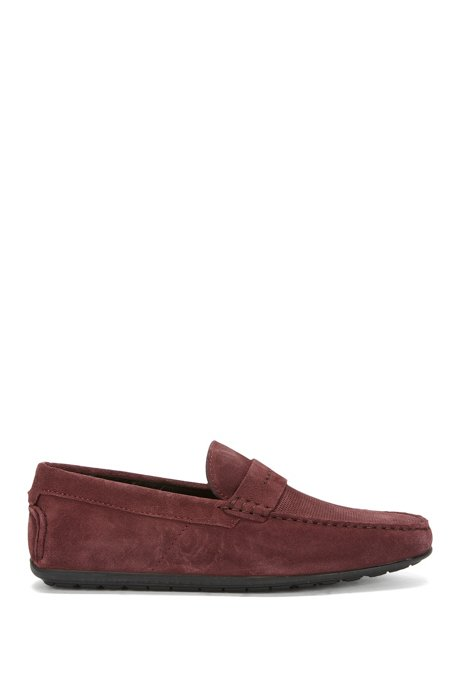 Slip-on moccasins in Italian suede, Dark Red