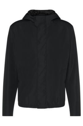 Waterafstotende regular-fit jas met capuchon: 'Batrez', Zwart