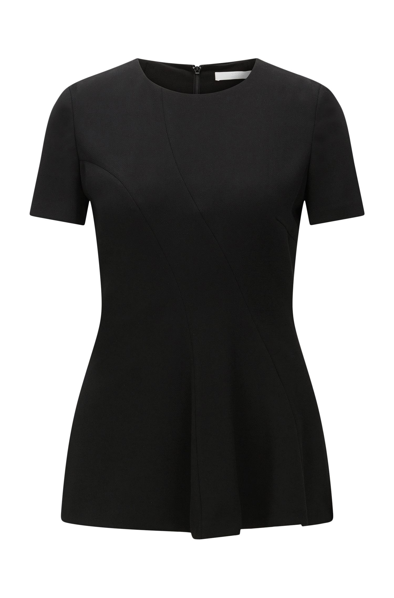 Short-sleeved top in textured fabric blend: 'Illerry1'