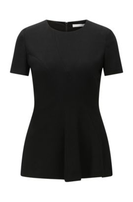 Short-sleeved top in textured fabric blend: 'Illerry1', Black