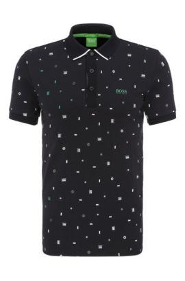Slim-Fit Poloshirt aus Baumwolle mit Print: ´Paule 3`, Schwarz