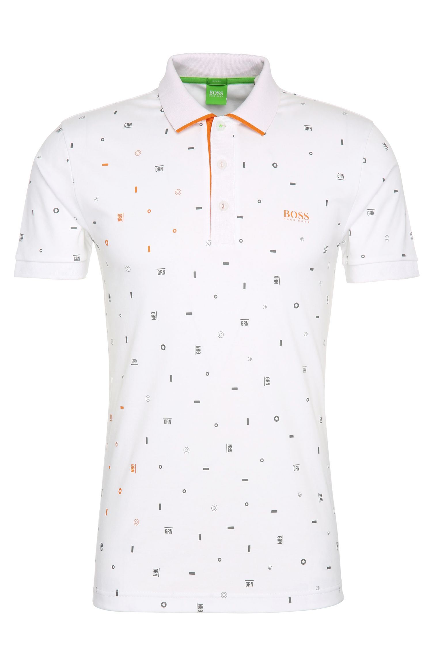 Slim-fit printed polo shirt in cotton: 'Paule 3'
