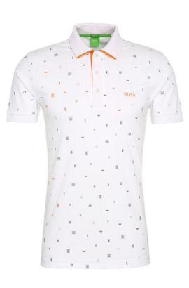 Polo Slim Fit en coton à imprimé: «Paule3», Blanc
