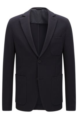 Extra slim-fit jacket in stretchy cotton blend with a weave texture: 'Rodd', Dark Blue