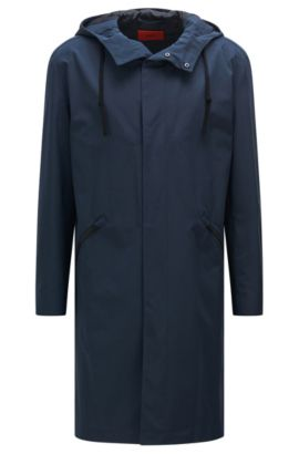 Abrigo impermeable en mezcla de materiales con algodón: 'Menjon', Azul oscuro