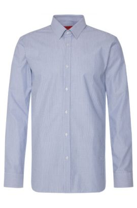 Slim-fit shirt in cotton with a graphic pattern: 'Elisha', Blue