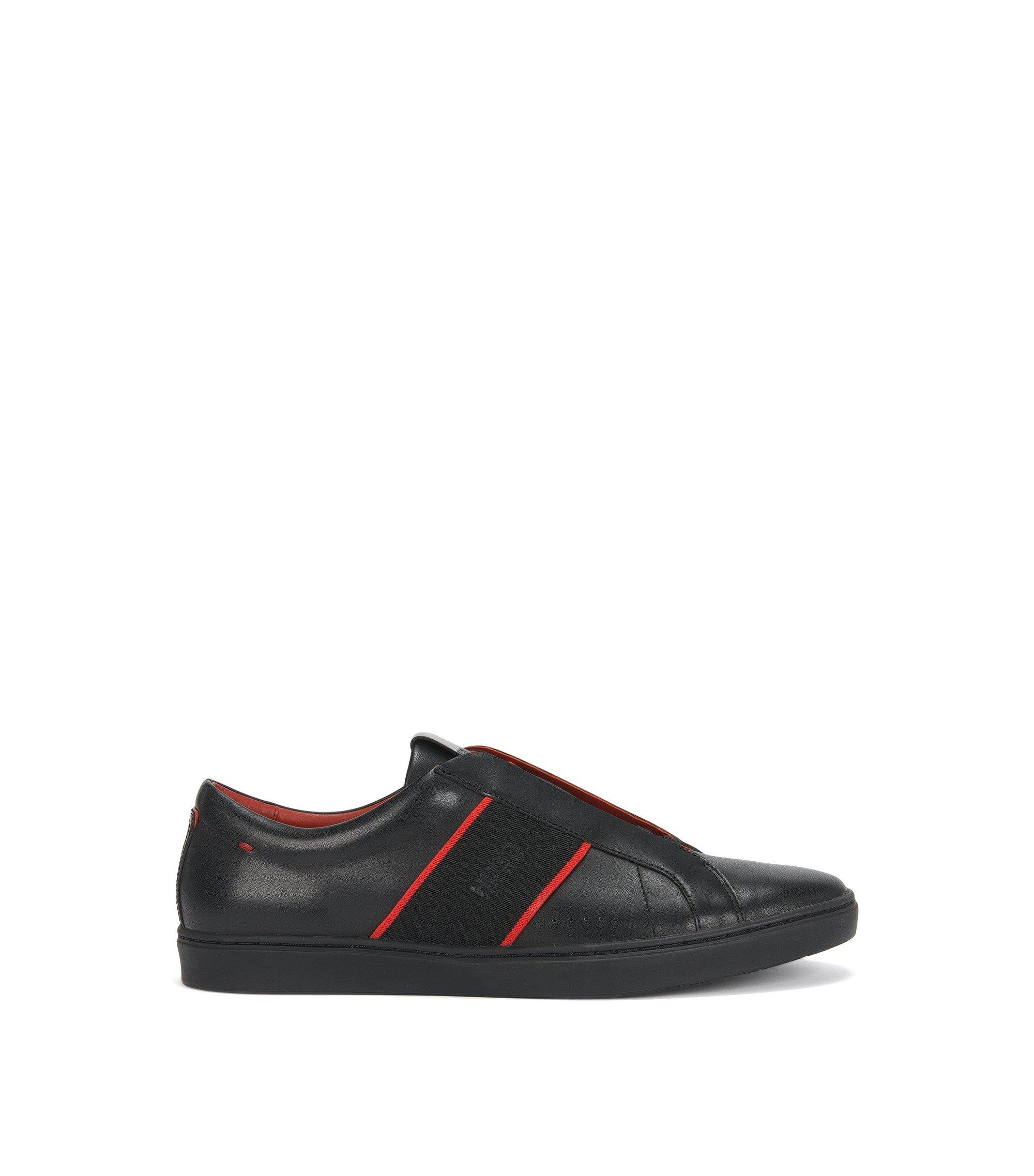 Instapsneakers van nappaleer, Zwart