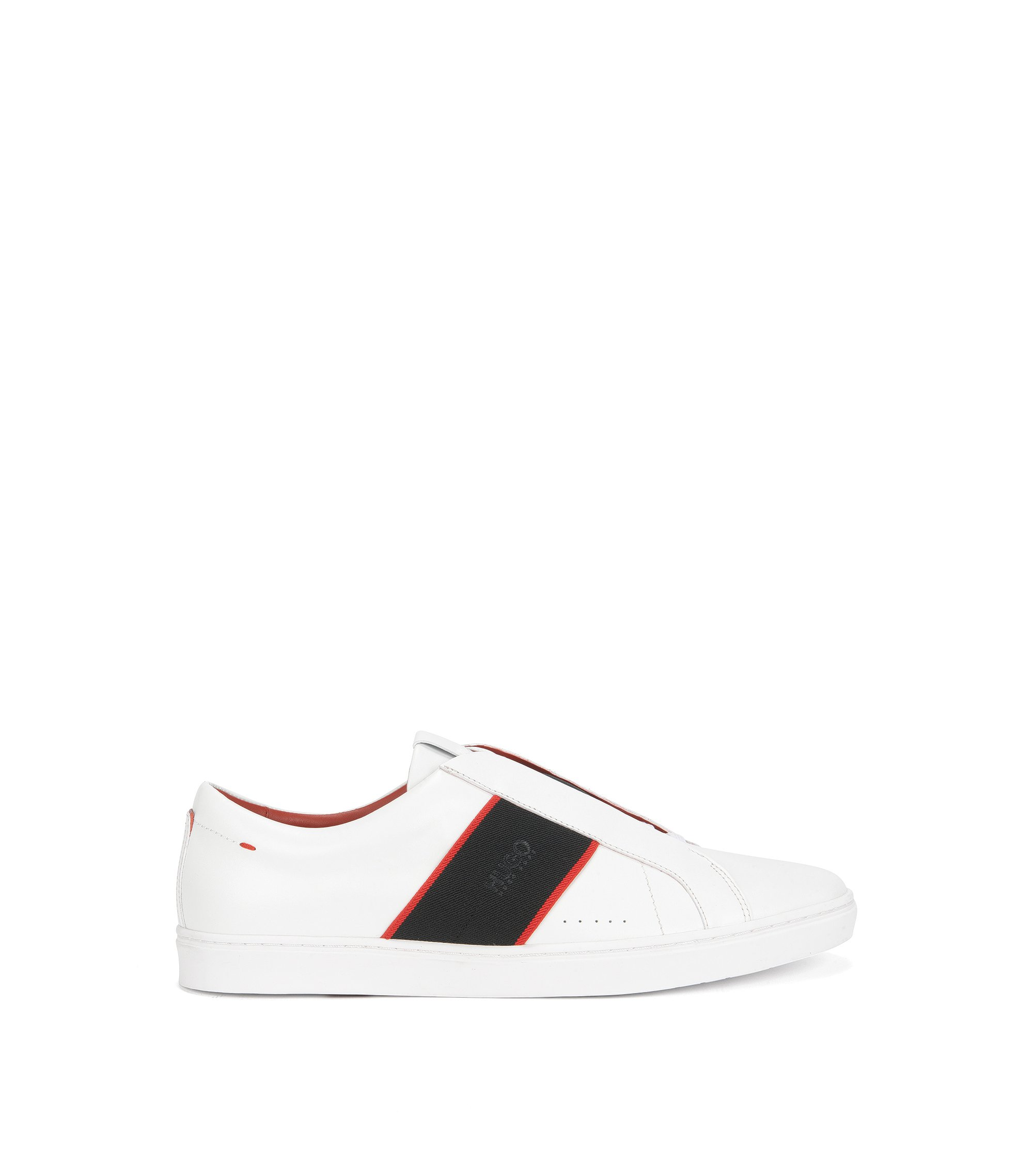 Sneakers slip-on in pelle nappa, Bianco