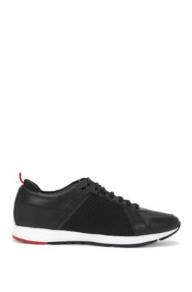 Leather trainers with mesh trim: 'Hybrid_Runn_Itnet', Black